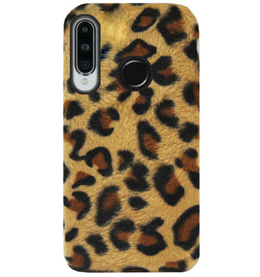 ADEL Siliconen Back Cover Softcase Hoesje voor Huawei P30 Lite - Luipaard Fluffy Pluche Zachte Stof