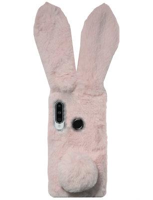 ADEL Siliconen Back Cover Softcase Hoesje voor Huawei P30 Lite - Konijn Fluffy Pluche Zachte Stof
