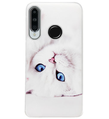 ADEL Siliconen Back Cover Softcase Hoesje voor Huawei P30 Lite - Kat Wit