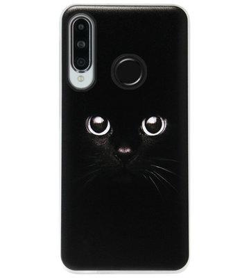 ADEL Siliconen Back Cover Softcase Hoesje voor Huawei P30 Lite - Kat Zwart