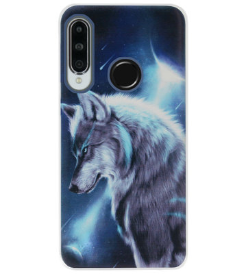 ADEL Siliconen Back Cover Softcase Hoesje voor Huawei P30 Lite - Wolf
