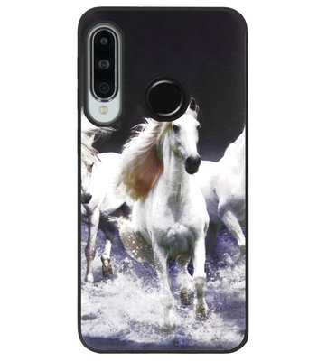 ADEL Siliconen Back Cover Softcase Hoesje voor Huawei P30 Lite - Paarden Wit