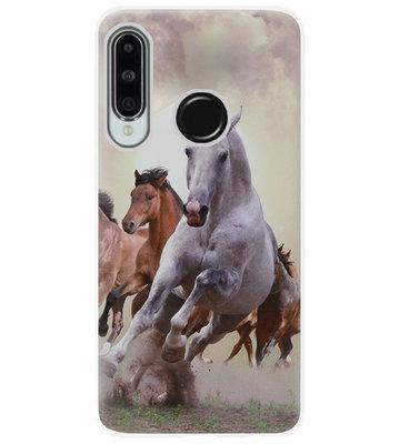 ADEL Siliconen Back Cover Softcase Hoesje voor Huawei P30 Lite - Paarden