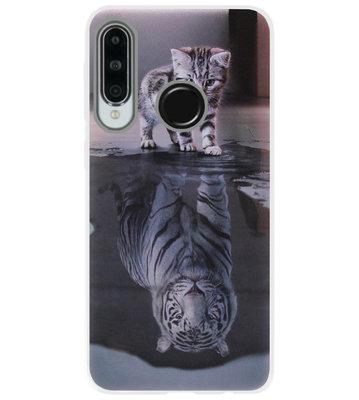 ADEL Siliconen Back Cover Softcase Hoesje voor Huawei P30 Lite - Poezen Schaduw Tijger