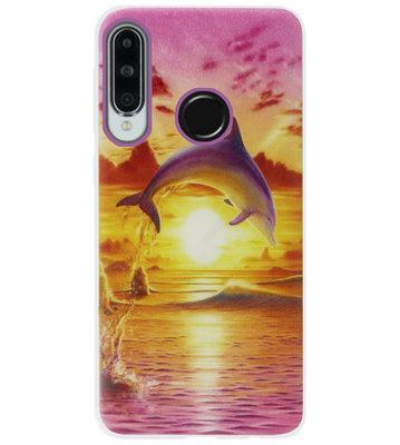 ADEL Siliconen Back Cover Softcase Hoesje voor Huawei P30 Lite - Dolfijn Roze