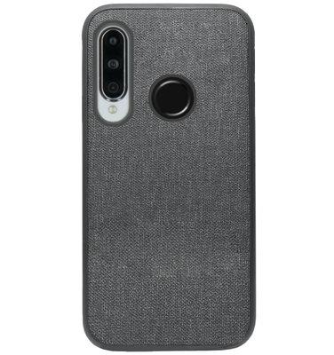 ADEL Siliconen Back Cover Softcase Hoesje voor Huawei P30 Lite - Stoffen Design Grijs