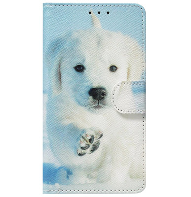 ADEL Kunstleren Book Case Portemonnee Pasjes Hoesje voor Huawei P30 Lite - Honden Wit