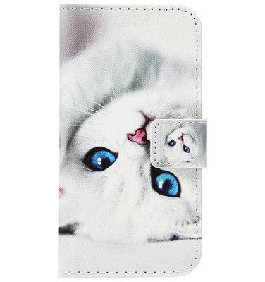 ADEL Kunstleren Book Case Portemonnee Pasjes Hoesje voor Huawei P30 Lite - Katten Wit