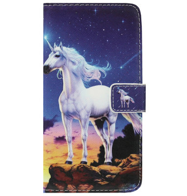 ADEL Kunstleren Book Case Portemonnee Pasjes Hoesje voor Huawei P30 Lite - Paarden Eenhoorn