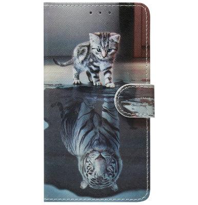 ADEL Kunstleren Book Case Portemonnee Pasjes Hoesje voor Huawei P30 Lite - Poezen Schaduw Tijger