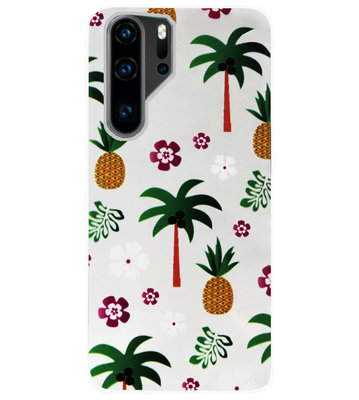 ADEL Siliconen Back Cover Softcase Hoesje voor Huawei P30 Pro - Ananas Palmbomen