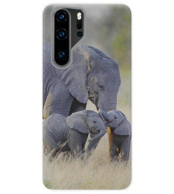 ADEL Siliconen Back Cover Softcase Hoesje voor Huawei P30 Pro - Olifant Familie