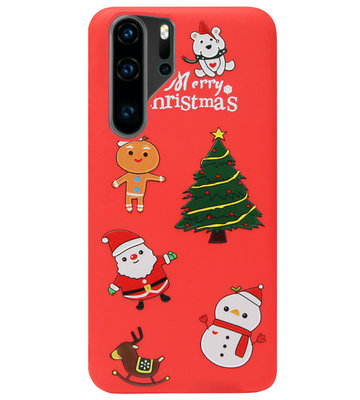 ADEL Siliconen Back Cover Softcase Hoesje voor Huawei P30 Pro - Kerstmis