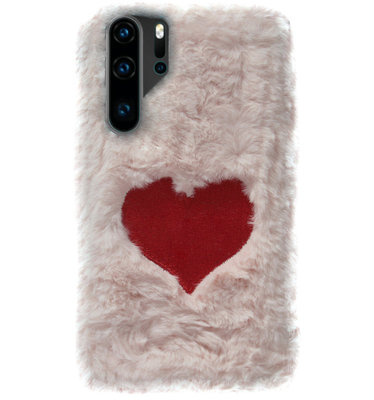 ADEL Siliconen Back Cover Softcase Hoesje voor Huawei P30 Pro - Hartjes Fluffy Pluche Zachte Stof