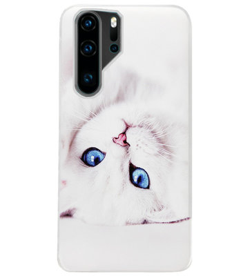 ADEL Siliconen Back Cover Softcase Hoesje voor Huawei P30 Pro - Kat Wit