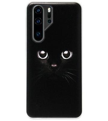 ADEL Siliconen Back Cover Softcase Hoesje voor Huawei P30 Pro - Kat Zwart