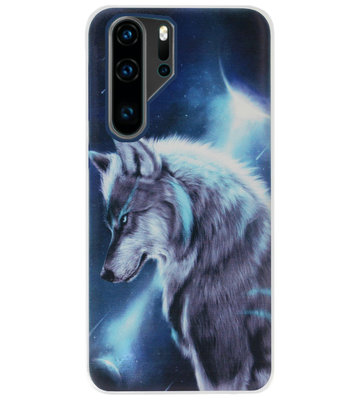 ADEL Siliconen Back Cover Softcase Hoesje voor Huawei P30 Pro - Wolf