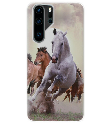 ADEL Siliconen Back Cover Softcase Hoesje voor Huawei P30 Pro - Paarden