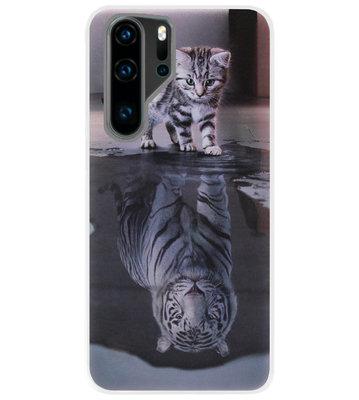 ADEL Siliconen Back Cover Softcase Hoesje voor Huawei P30 Pro - Poezen Schaduw Tijger