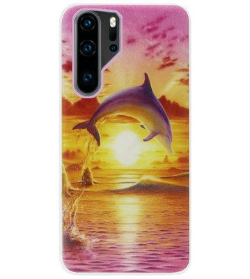 ADEL Siliconen Back Cover Softcase Hoesje voor Huawei P30 Pro - Dolfijn Roze