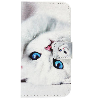 ADEL Kunstleren Book Case Portemonnee Pasjes Hoesje voor Huawei P30 Pro - Katten Wit
