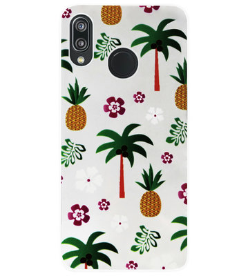 ADEL Siliconen Back Cover Softcase Hoesje voor Huawei P20 Lite (2018) - Ananas Palmbomen