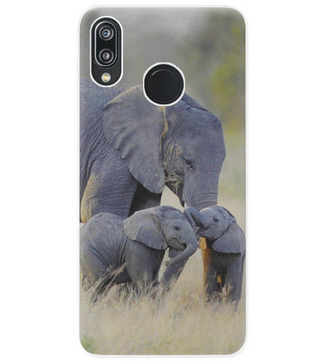 ADEL Siliconen Back Cover Softcase Hoesje voor Huawei P20 Lite (2018) - Olifant Familie