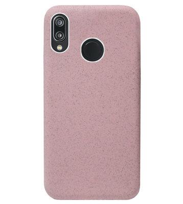 ADEL Tarwe Stro TPU Back Cover Softcase Hoesje voor Huawei P20 Lite (2018) - Duurzaam afbreekbaar Milieuvriendelijk Roze