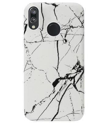 ADEL Kunststof Back Cover Hardcase Hoesje voor Huawei P20 Lite (2018) - Marmer Wit