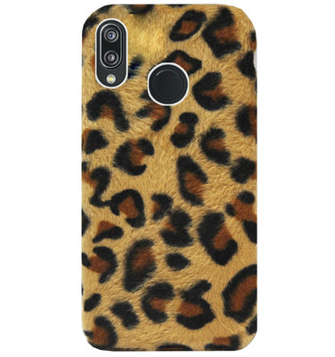 ADEL Siliconen Back Cover Softcase Hoesje voor Huawei P20 Lite (2018) - Luipaard Fluffy Pluche Zachte Stof