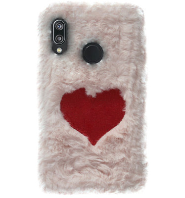ADEL Siliconen Back Cover Softcase Hoesje voor Huawei P20 Lite (2018) - Hartjes Fluffy Pluche Zachte Stof