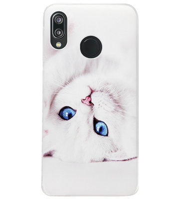 ADEL Siliconen Back Cover Softcase Hoesje voor Huawei P20 Lite (2018) - Kat Wit