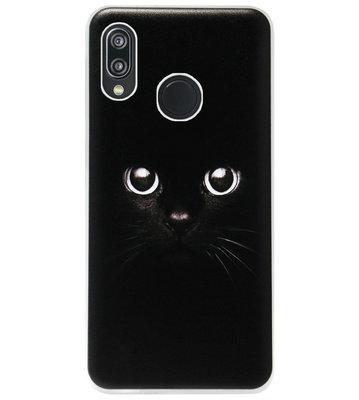 ADEL Siliconen Back Cover Softcase Hoesje voor Huawei P20 Lite (2018) - Kat Zwart