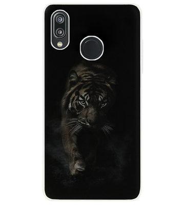 ADEL Siliconen Back Cover Softcase Hoesje voor Huawei P20 Lite (2018) - Tijger