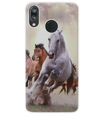 ADEL Siliconen Back Cover Softcase Hoesje voor Huawei P20 Lite (2018) - Paarden