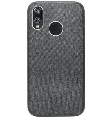 ADEL Siliconen Back Cover Softcase Hoesje voor Huawei P20 Lite (2018) - Stoffen Design Grijs