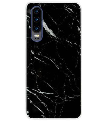 ADEL Siliconen Back Cover Softcase Hoesje voor Huawei P30 - Marmer Zwart