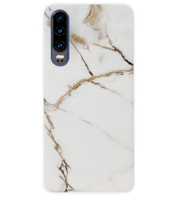 ADEL Siliconen Back Cover Softcase Hoesje voor Huawei P30 - Marmer Goud