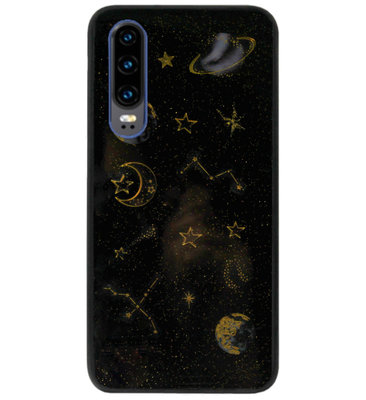 ADEL Siliconen Back Cover Softcase Hoesje voor Huawei P30 - Heelal Bling Bling Goud