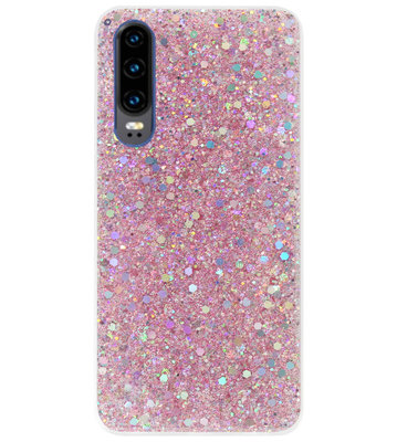ADEL Premium Siliconen Back Cover Softcase Hoesje voor Huawei P30 - Bling Bling Roze