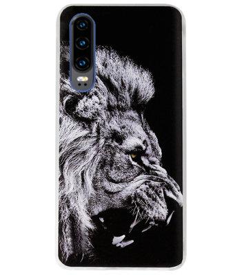 ADEL Siliconen Back Cover Softcase Hoesje voor Huawei P30 - Leeuw Zwart