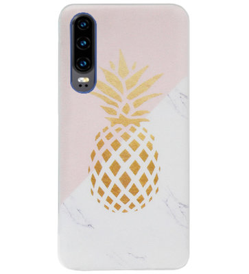 ADEL Siliconen Back Cover Softcase Hoesje voor Huawei P30 - Ananas Roze Goud