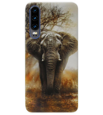ADEL Siliconen Back Cover Softcase Hoesje voor Huawei P30 - Olifant