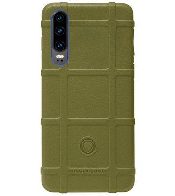 RUGGED SHIELD Rubber Bumper Case Hoesje voor Huawei P30 - Groen