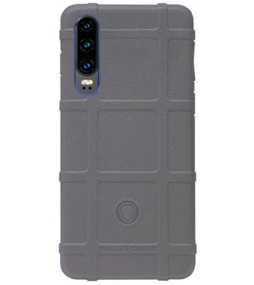 RUGGED SHIELD Rubber Bumper Case Hoesje voor Huawei P30 - Grijs