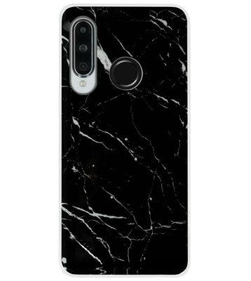 ADEL Siliconen Back Cover Softcase Hoesje voor Huawei P30 Lite - Marmer Zwart