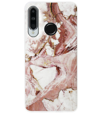 ADEL Siliconen Back Cover Softcase Hoesje voor Huawei P30 Lite - Marmer Rood