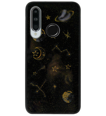 ADEL Siliconen Back Cover Softcase Hoesje voor Huawei P30 Lite - Heelal Bling Bling Goud