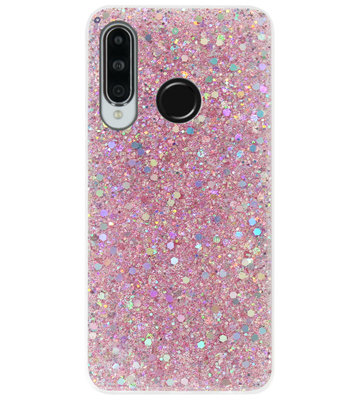 ADEL Premium Siliconen Back Cover Softcase Hoesje voor Huawei P30 Lite - Bling Bling Roze