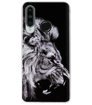 ADEL Siliconen Back Cover Softcase Hoesje voor Huawei P30 Lite - Leeuw Zwart